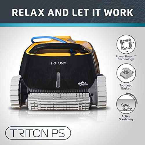 - Dolphin Triton PS Automatic Robotic Pool Cleaner with Extra-Large Filter Basket and Superior Scrubbing Power, Ideal for In-ground Swimming Pools up to 50 Feet.