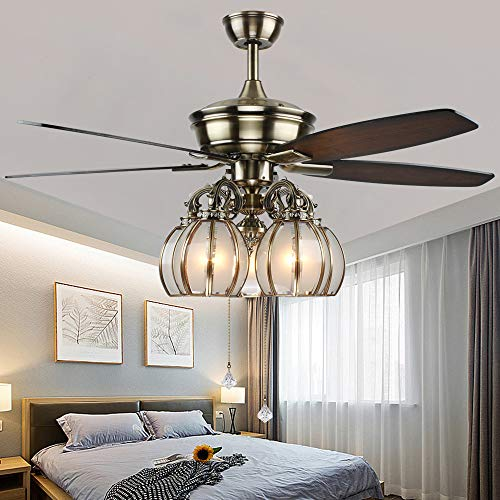 Andersonlight Transitional Ceiling Fan 5 Light 5 Blades, Reversible Quiet Fan Chandelier, For Bedroom Living Room Dining Room Fan Light, Antique Bronze, 52-Inch
