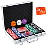 Homwom Casino Poker Chip Set - 200PCS Poker Chips with Aluminum Case, 11.5 Gram Chips for Texas Holdem Blackjack Gambling
