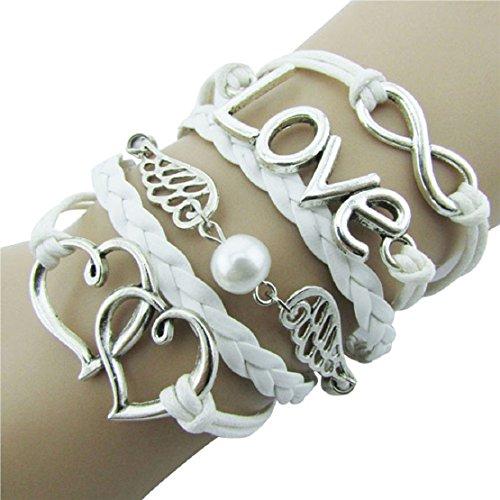Lookatool® DIY Style Jewelry fashion Leather Cute Infinity Charm Bracelet Silver