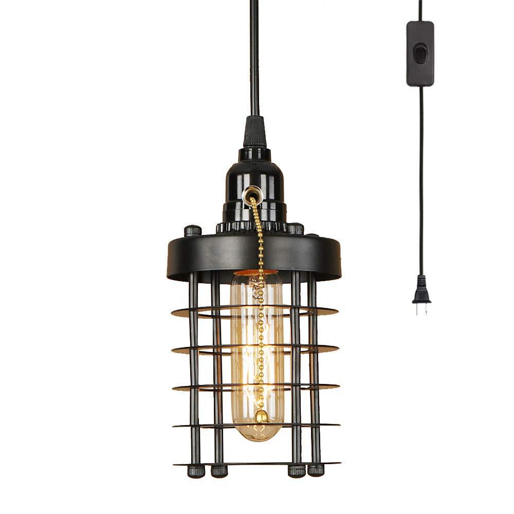 Efinehome industrial vintage cylinder shape cage pendant light