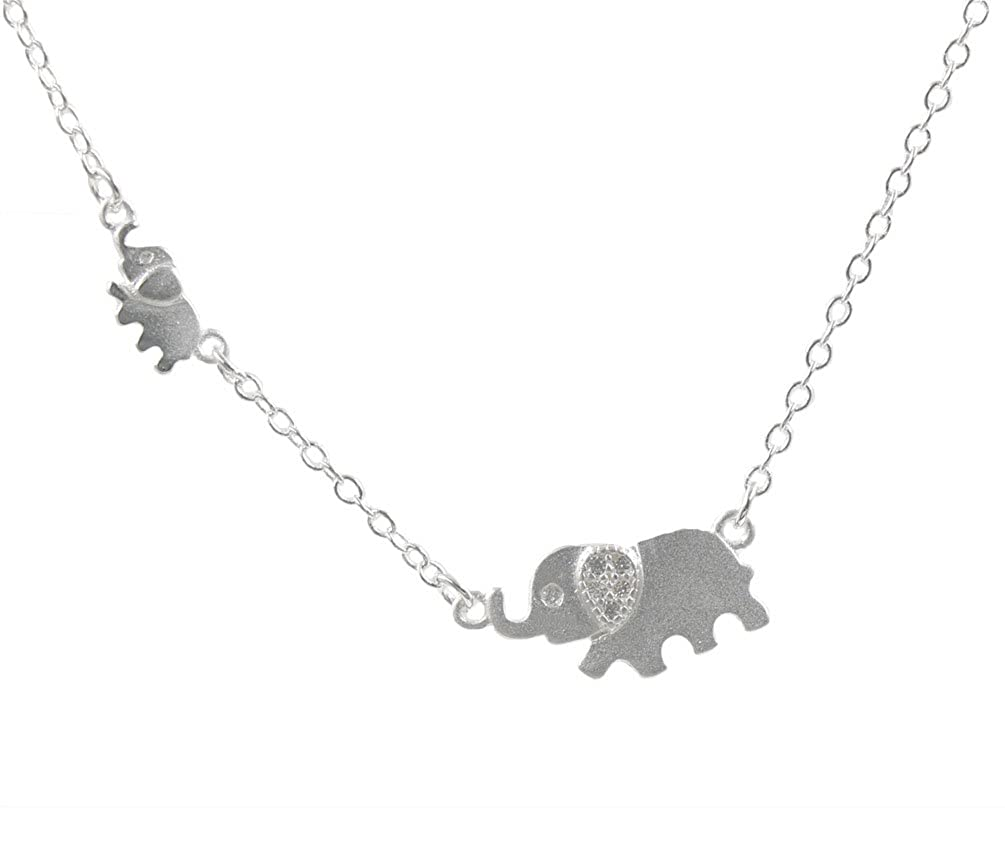 059835ef5d3a5 925 Sterling Silver Family Elephant Pendant Necklace,16