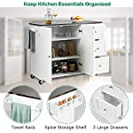 Giantex Kitchen Cart with Stainless Steel Countertop, Kitchen Island Rolling Trolley with Towel Holder and Spice Rack, 3…