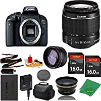Great Value Bundle for T7I DSLR – 18-55mm STM + 2PCS 16GB Memory + Wide Angle + Telephoto Lens + Case
