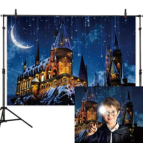 Allenjoy 7x5ft Magic Castle Witch Wizard Hogwarts Backdrop Photography Halloween Night Moon Background Sorcerer Party Banner Decors for Child Kid Portrait Photo Booth Prop