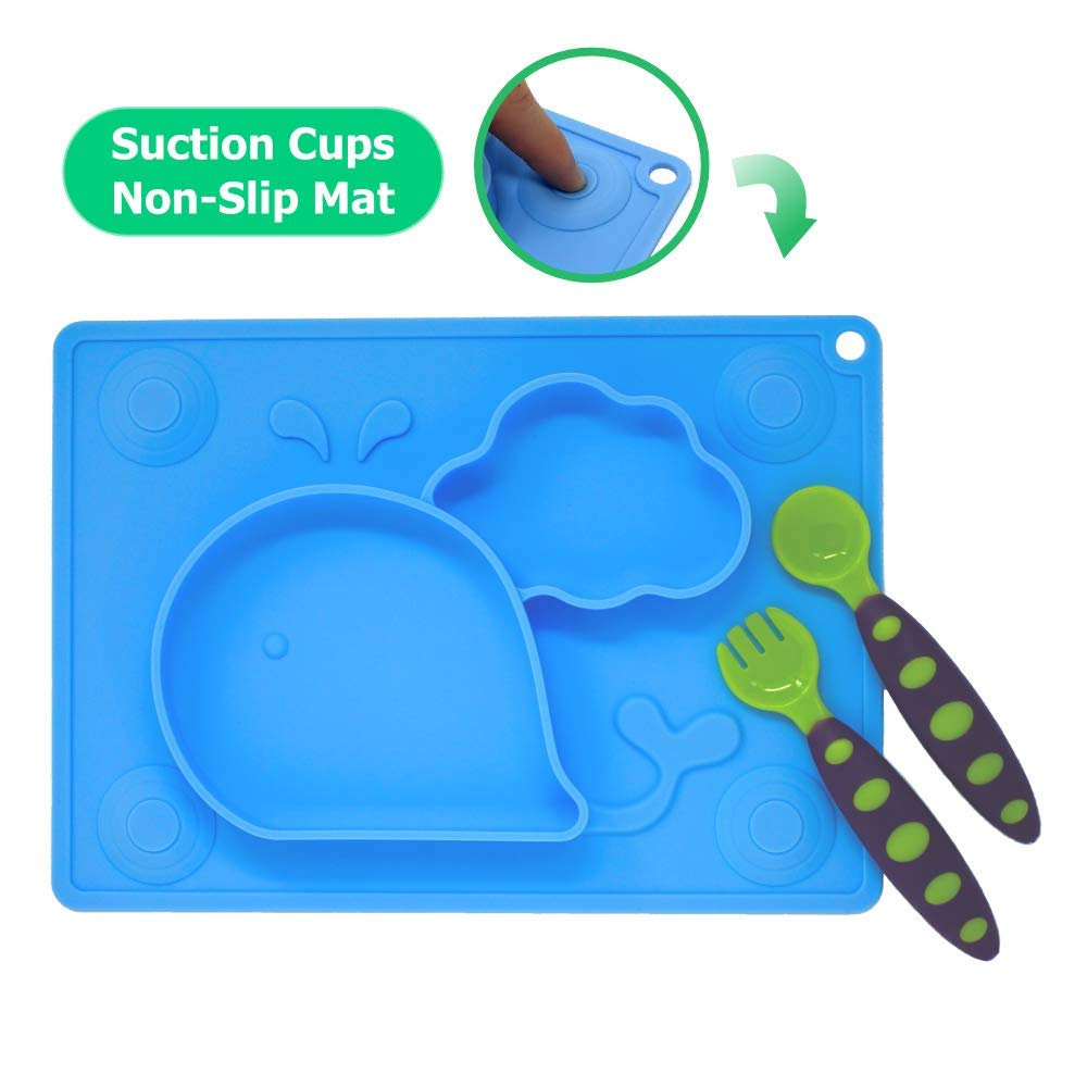 Silicone Placemat for Kids + Bonus Spoon & Fork Set with Carrying case - Portable Baby Plate, Non Toxic, Dishwasher + Microwave + Oven Safe, Table Suction, Easy to Clean, by Koality Goods - Sky Blue