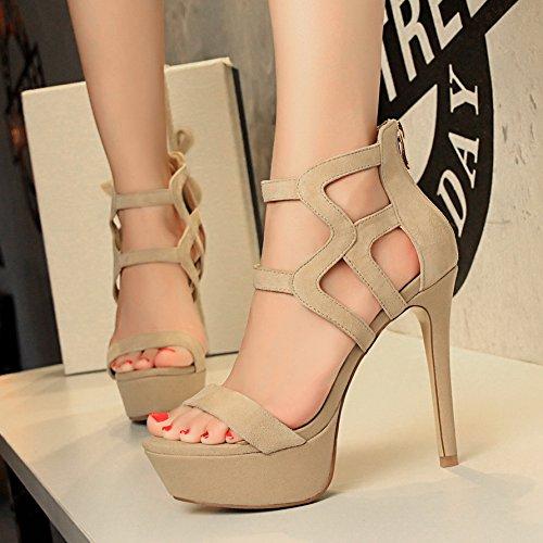 Xing Lin Summer Shoes For Women Wedges Sandals Women'S High Heels With Thin Women'S Waterproof Zipper Fish Tank Open Toe Summer New Wild Tide Khaki