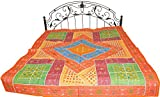 Multicolor Bedspread from Kutch with Patchwork and Embroidered Mirrors - Pure Cotton
