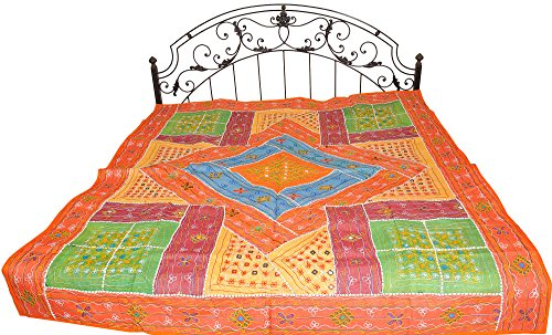 Multicolor Bedspread from Kutch with Patchwork and Embroidered Mirrors - Pure Cotton by Exotic India