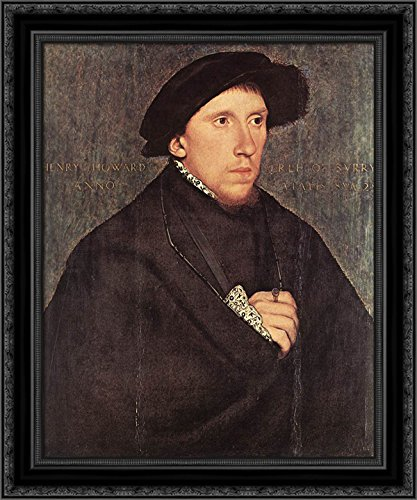 (Portrait of Henry Howard, The Earl of Surrey 20x23 Black Ornate Wood Framed Canvas Art by Holbein, Hans (Younger))