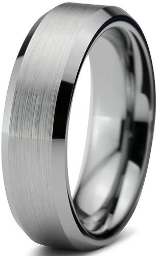 Amazon.com: Tungsten Wedding Band Ring FREE Custom Laser Engraving ...