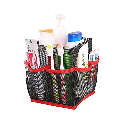 Pawaca Portable Mesh Shower Candy - Haundry Mesh Shower Caddy Tote, Quick Dry Shower Tote Large Hanging Bath & Toiletry Organizer Bag with 9 Storage Pockets,Gym & Camping & College Dorm, Red