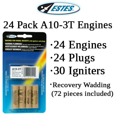 Estes A10-3T Model Rocket Engines (24 pack)