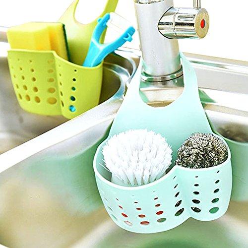 Alliebe 3pcs Kitchen Sink Faucet Caddy Bath Hanging Organizer Sink Draining Soap Sponge Towel Holder Pocket Sink Caddy Storage Baskets