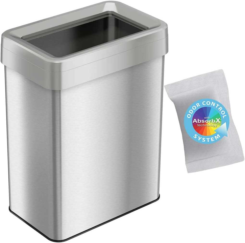 iTouchless 18 Gallon Rectangular Open Top Trash Can and Recycle Bin with AbsorbX Odor Control System, Ultra Space-Saving Large Capacity Commercial Grade for Home, Office, Garage, Stainless Steel