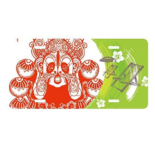DIYthinker Beijing Opera Mask Red,Paper-Cut, License Plate Car Decoration Beach Lounge -