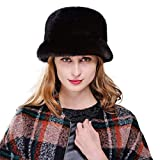 URSFUR Mink Full Fur Bucket Hats (One Size, Coffee)