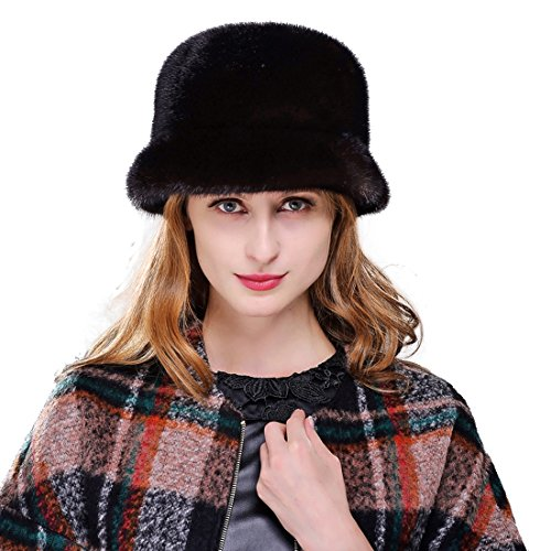URSFUR Mink Full Fur Bucket Hats (One Size, Coffee) by URSFUR