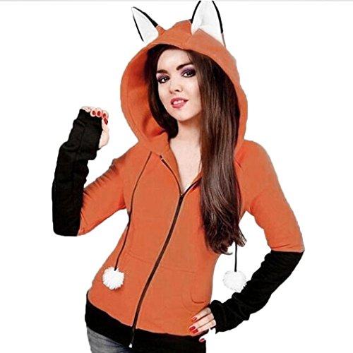 Fiaya Women Orange Fox Ears Hooded Sweatshirts Long Sleeve Coat Autumn Zipper Jacket (Medium)