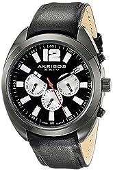 Akribos XXIV Men's AK777BK Multifunction Quartz Movement Watch with Black Dial and Black Calfskin Leather Strap