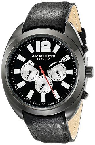 Watch Multifunction Dial (Akribos XXIV Men's AK777BK Multifunction Quartz Movement Watch with Black Dial and Black Calfskin Leather Strap)