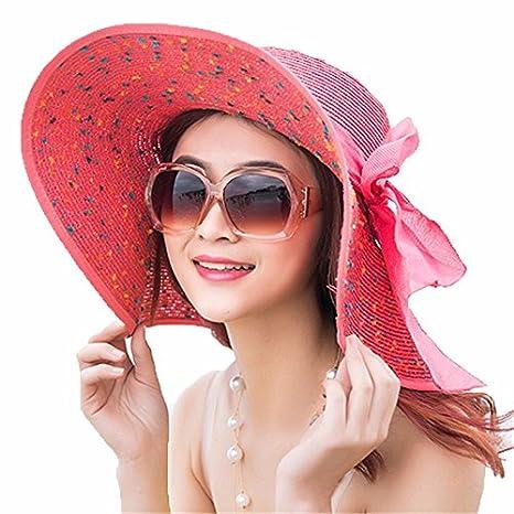 LOF-fei Mujer Verano Sombrero para el Sol Moda Sombrero de Paja UPF 50+  Plegable al Aire Libre ala Ancha Playa Disquete abab2d08c07