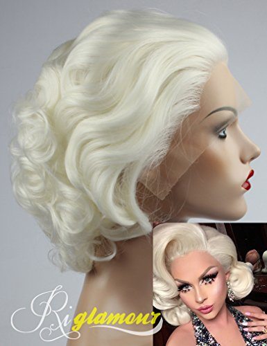 Blonde Marilyn Monroe Wig (Riglamour Wavy Short Blonde Wig for White Women Half Hand Tied Lace Front Synthetic Wigs Heat Resistant 100% Fiber Hair)