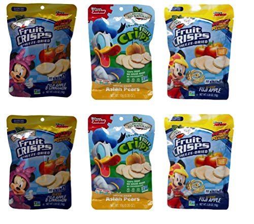 - Brothers-ALL-Natural Freeze Dried Fruit Crisps Disney 3 Flavor Variety 6 Bag Gift Bundle, 2 each: Minnie Mouse Fuji Apple Cinnamon, Donald Duck Pear, Mickey Mouse Fuji Apple.35 Ounces