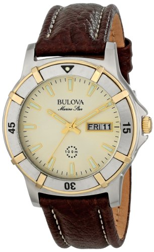 (Bulova Men's 98C71 Marine Star Two-Tone Stainless Steel Watch with Brown Leather Band )