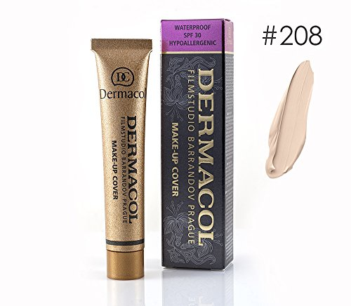 Dermacol High Cover Make-up Foundation Waterproof Hypoallergenic Foundation Authentic - #208 (Best Coverage For Acne Scars)