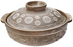M.V. Trading JPCP14MF Japanese Eathern Casserole Donabe Hot Pot, 3-Quarts (11-Cups), 12-Inches, Mishima Flower