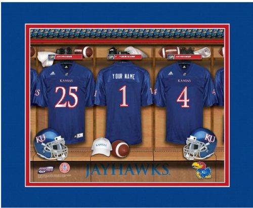 NCAA Locker Room Print Kansas Jayhawks Football Personalized Framed (Room Jayhawks Ncaa Locker Kansas)