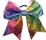rainbow sequin bow - sequin bow 7'' - rainbow bow - multi color bow - girls bow - cheer bow - sequin cheer bow