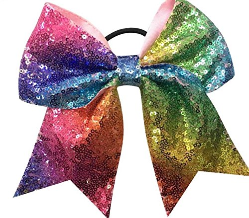 rainbow sequin bow - sequin bow 7'' - rainbow bow - multi color bow - girls bow - cheer bow - sequin cheer bow by DyvaBows