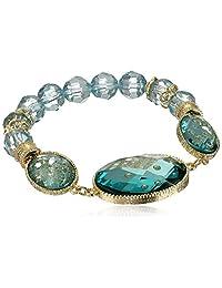 "1928 Jewelry ""Aqua Verde"" Gold-Tone Light Aqua Oval Faceted Stretch Bracelet, 7"""