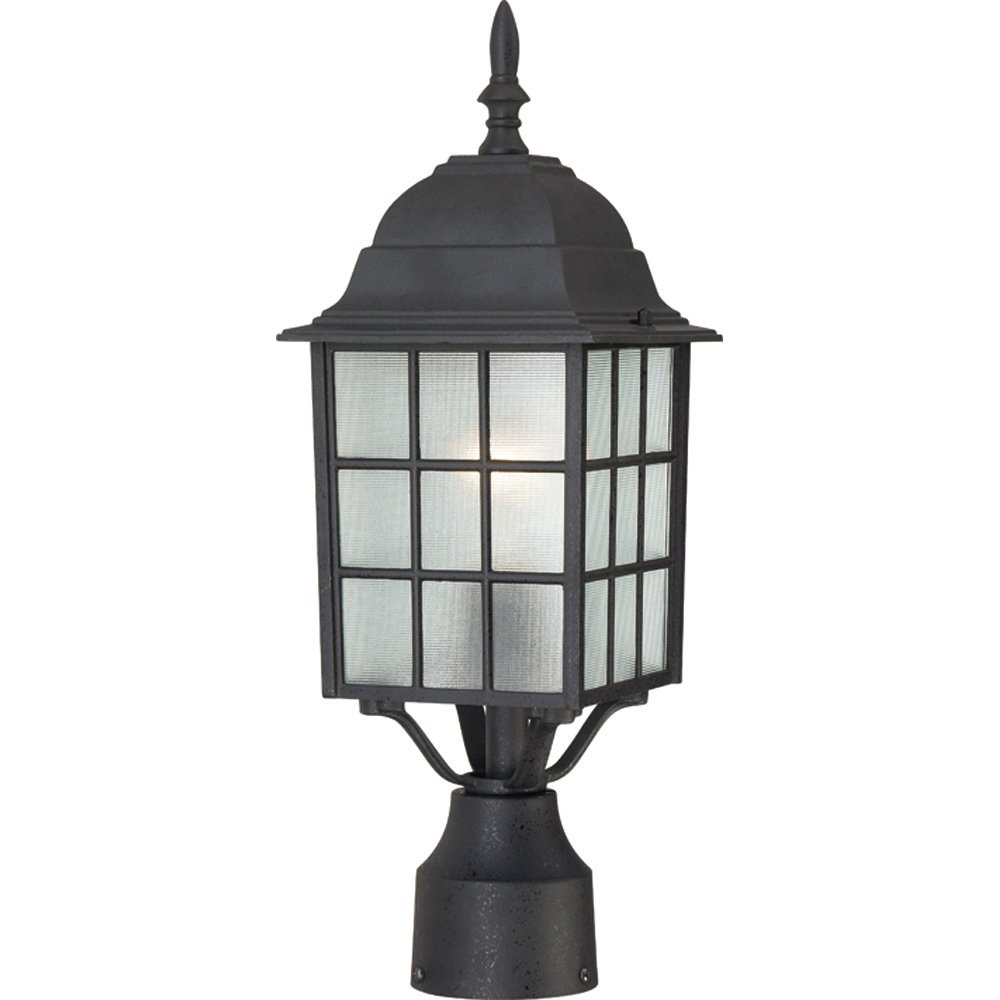 Nuvo Lighting 60/4909 Adams One Light Post Lantern 100 Watt A19 Max. Frosted Glass Textured Black Outdoor Fixture by Nuvo Lighting