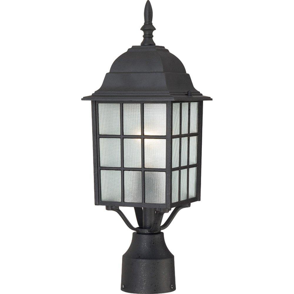 Nuvo Lighting 60/4909 Adams One Light Post Lantern 100 Watt A19 Max. Frosted Glass Textured Black Outdoor Fixture