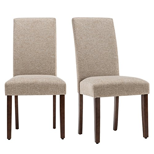 Andeworld Set of 2 Upholstered Dining Chairs Fabric Padded Kitchen Chairs with Wood Legs (Khaki)