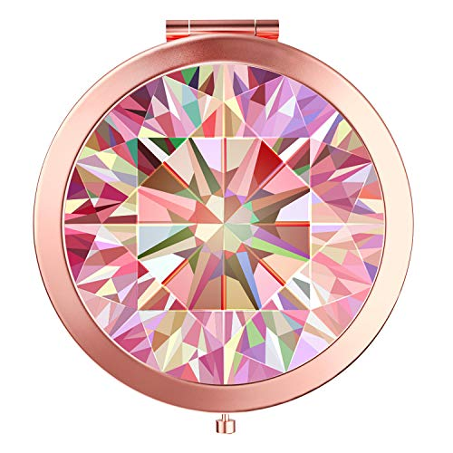 HeaLife Rose Gold Diamond Compact Mirror Travle Makeup Mirror [New Version] Double Sides with 2x &1x Magnification Portable Compact Mirror Round Pocket HandHeld Mirror for ()
