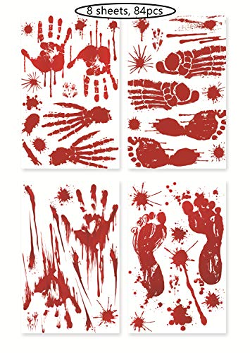 (VFun 84pcs Bloody Handprint Footprints Stickers Clings Decals Bloodstain Indoor/Outdoor for Wall Door Window Floor Bathtub Haunted House Party Supplies Decor-Halloween Vampire Zombie Party Decorations)