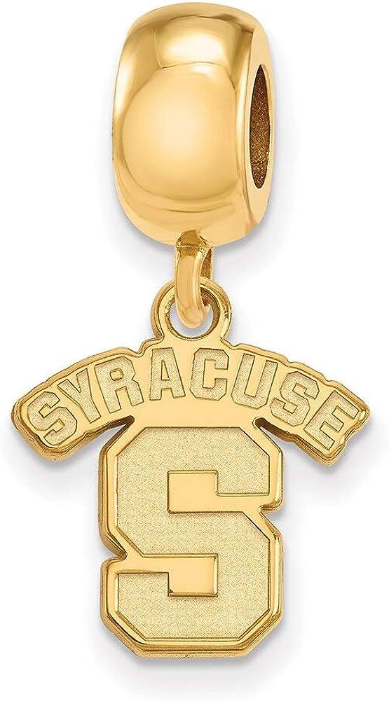 Lex /& Lu LogoArt Sterling Silver w//GP Syracuse University Small Dangle Bead LAL140375