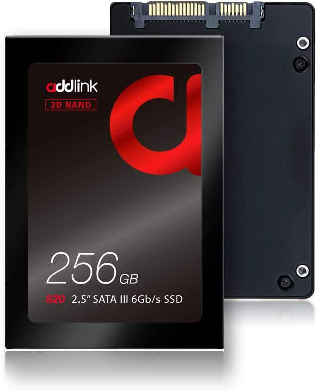 addlink S20 256GB SSD 3D NAND 2.5 inch SATA III 6Gb/s 7mm Internal Solid State Drive Read 510MB/s Write 400MB/s