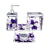 ADUTY Nature Series Bathroom Organizer Set Acrylic 4 PCS Bathroom Washing Accessory Set With Purple Flower AD002