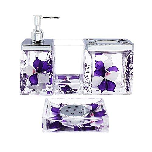 ADUTY Nature Series Bathroom Organizer Set Acrylic 4 PCS Bathroom Washing Accessory Set With Purple Flower AD002