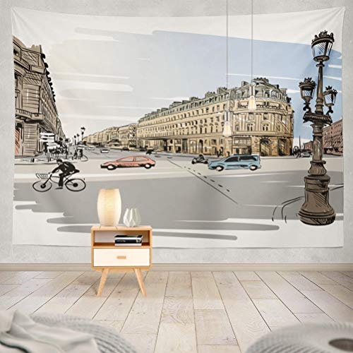 threetothree 80x60 Inches Tapestry Wall Hanging Interior Decorative Paris Street City Sketch Modern Car France Watercolor Architecture Art Banner for Bedroom Living Room Tablecloth Dorm