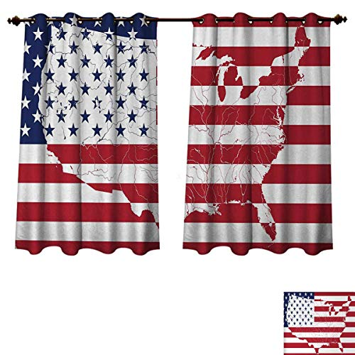 (Anzhouqux American Flag Blackout Thermal Backed Curtains for Living Room America Continent Shaped Flag Martial Design International World Glory Print Customized Curtains Navy Red W63 x L63 inch )