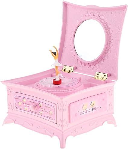 Joyero Organizador Caja de música de bailarina vintage for niñas, joyero de bailarina de ballet con cajón para Anillos Pendientes Collar Bisuterías Joyas Re (Color : Pink): Amazon.es: Belleza