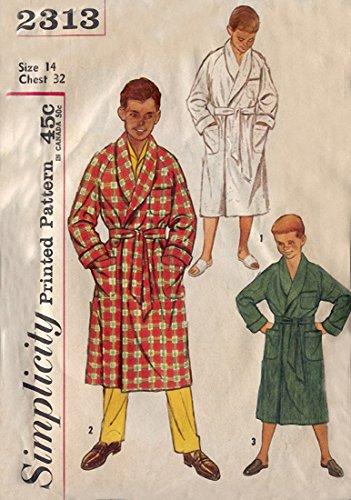 Simplicity 2313 Vintage 1960s Boys Wrap Tie Robe Sewing Pattern ()