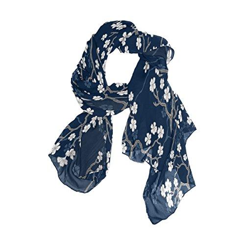 - Use4 Blue White Cherry Blossom Sakura Chiffon Silk Long Scarf Shawl Wrap
