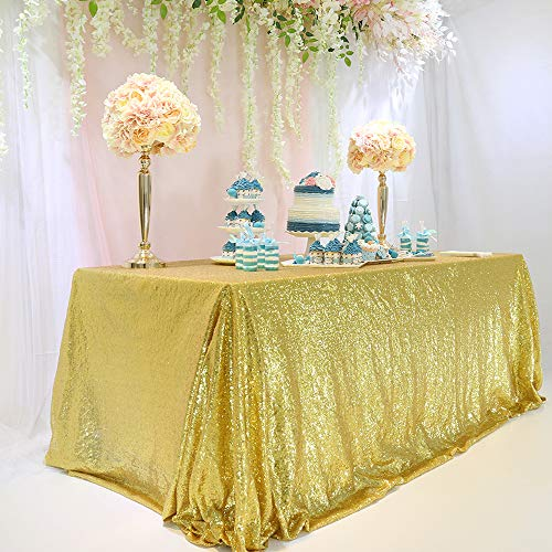 BalsaCircle TRLYC 60x102-Inch Rectangular Gold Sequin Tablecloth for Wedding Party Christmas Day-Gold ()